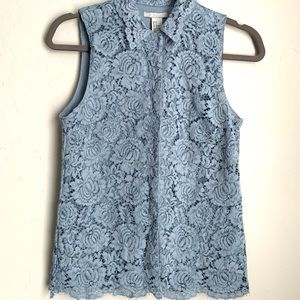 H&M BLUE LACE BUTTON DOWN | size 4